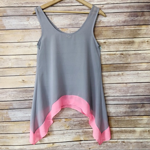 1e900d9d0834 BKE Tops | Sheer Gray Pink Sleeveless Shark Bite Hem Top | Poshmark